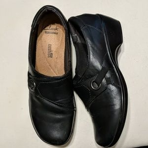 Clarks Black Wedge Slip-ons